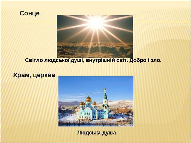 Сонце Світло людської душі, внутрішній світ. Добро і зло. Храм, церква Людськ...
