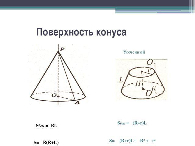 Поверхность конуса Sбок =πRL S= πR(R+L) Усеченный Sбок = π(R+r)L S= π (R+r)L...
