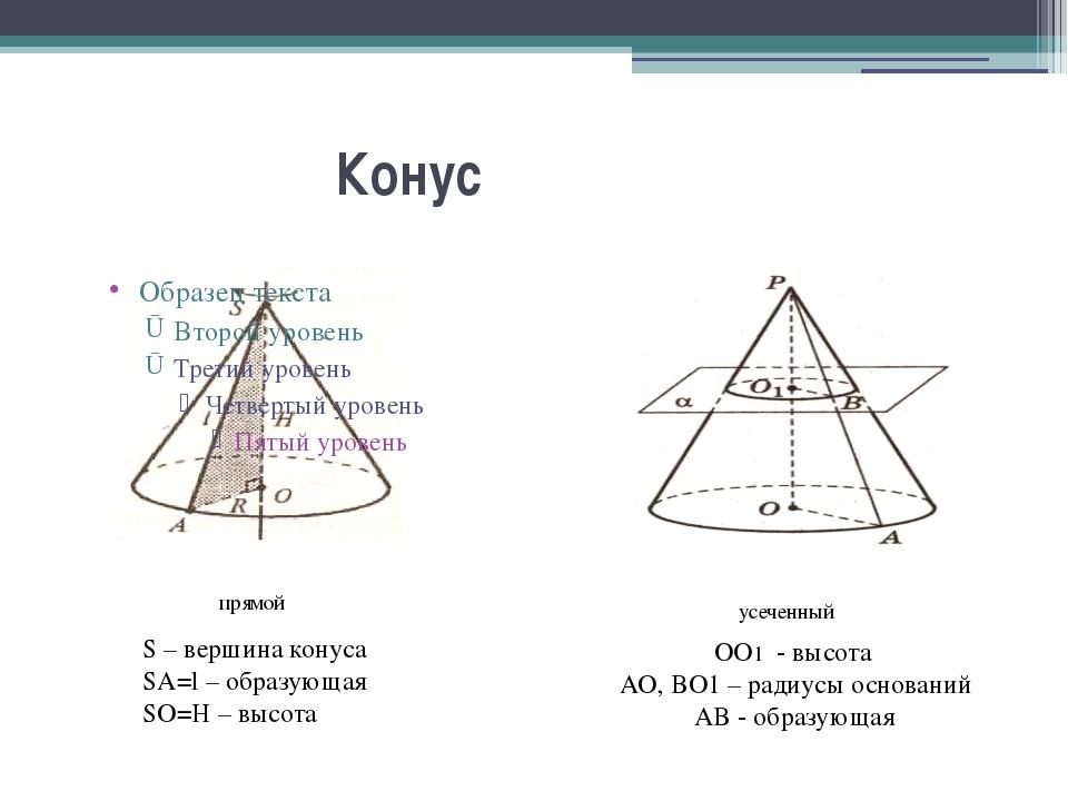 Конус S – вершина конуса SA=l – образующая SO=H – высота прямой усеченный ОО...
