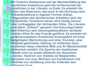 Mit Friedrich Barbarossa und der Machtentfaltung des staufischen Kaisertums g