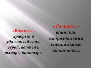 «Витязь» - храбрый и удачливый воин, герой, воитель, рыцарь, богатырь. «Спецн