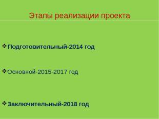 Основной-2015-2017 год Подготовительный-2014 год Заключительный-2018 год Этап