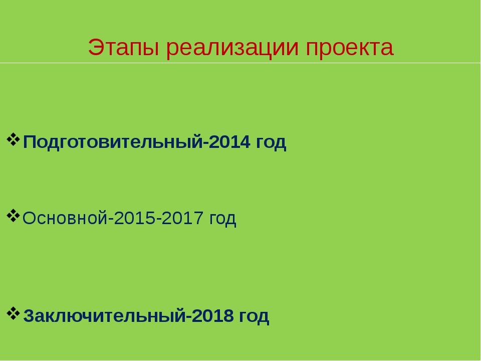 Основной-2015-2017 год Подготовительный-2014 год Заключительный-2018 год Этап...