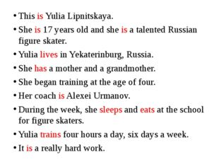 This is Yulia Lipnitskaya. She is 17 years old and she is a talented Russian