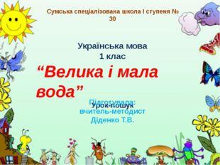 """Українська мова 1 клас """"Велика і мала вода"""" Урок-пошук Підготувала: вчитель-м"""