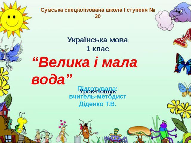"""Українська мова 1 клас """"Велика і мала вода"""" Урок-пошук Підготувала: вчитель-м..."""