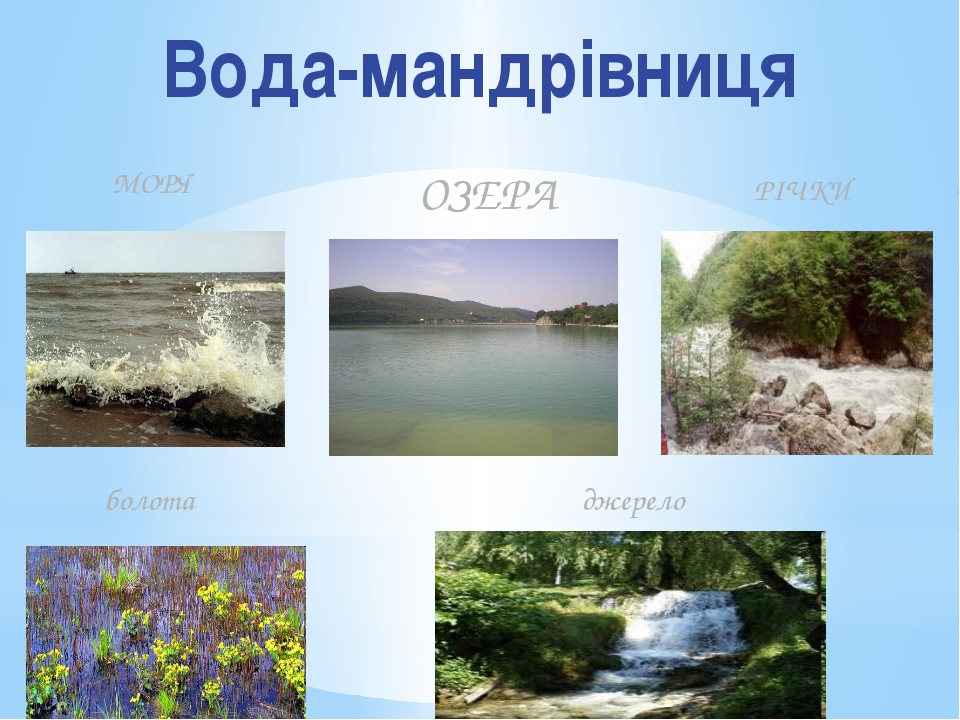 Вода-мандрівниця МОРЯ ОЗЕРА РІЧКИ болота джерело