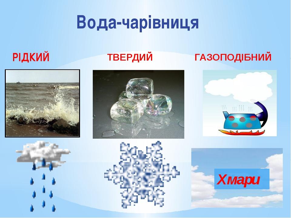 Вода-чарівниця РІДКИЙ ТВЕРДИЙ ГАЗОПОДІБНИЙ Хмари