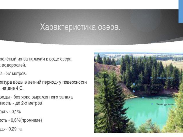 Характеристика озера. Цвет - зелёный из-за наличия в воде озера зелёных водор...