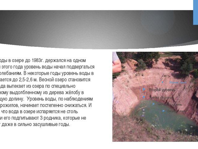 Уровень воды в озере до 1983г. держался на одном уровне, но с этого года у...
