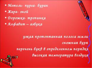 Метель- пурга- буран Жара- зной Дорожка- тропинка Алфавит – азбука узкая прот