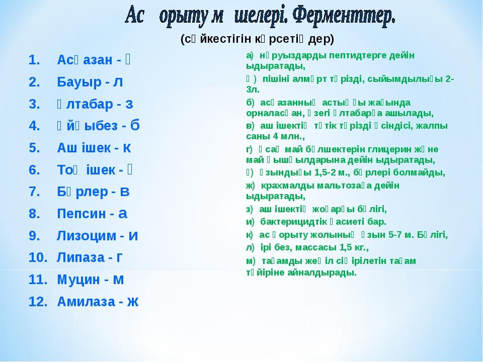 (сәйкестігін көрсетіңдер) Асқазан - ә Бауыр - л Ұлтабар - з Ұйқыбез - б Аш іш...