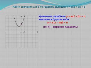 Найти значения a и b по графику функции у = ах2 + bx + c Уравнение параболы