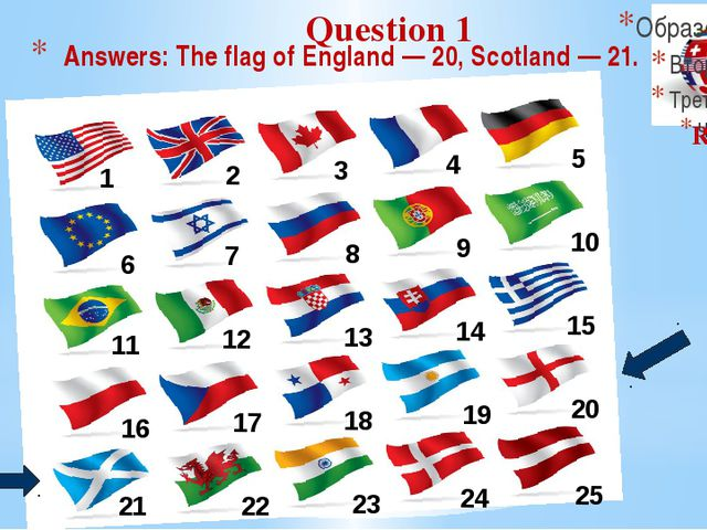 Answers: The flag of England — 20, Scotland — 21. 1 2 6 11 16 21 7 12 3 8 4 9...