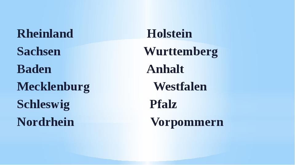 Rheinland Holstein Sachsen Wurttemberg Baden Anhalt Mecklenburg Westfalen Sch...