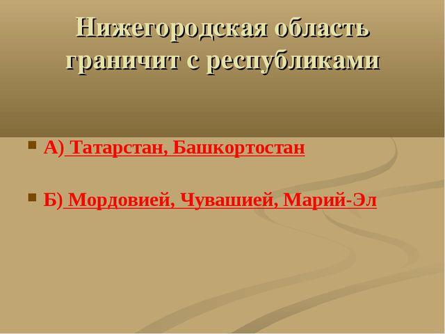 Нижегородская область граничит с республиками А) Татарстан, Башкортостан Б) М...