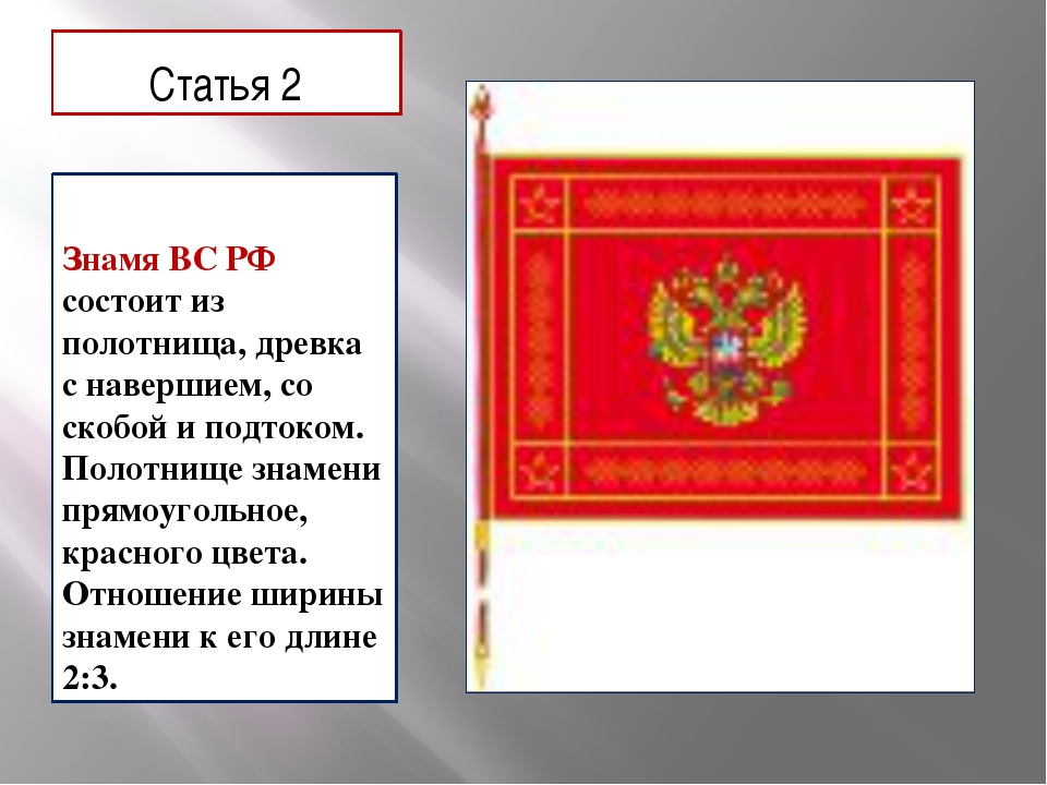 Статья 2 Знамя ВС РФ состоит из полотнища, древка с навершием, со скобой и по...