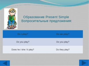 Образование Present Simple Вопросительные предложения: DoI play? Doweplay? Do