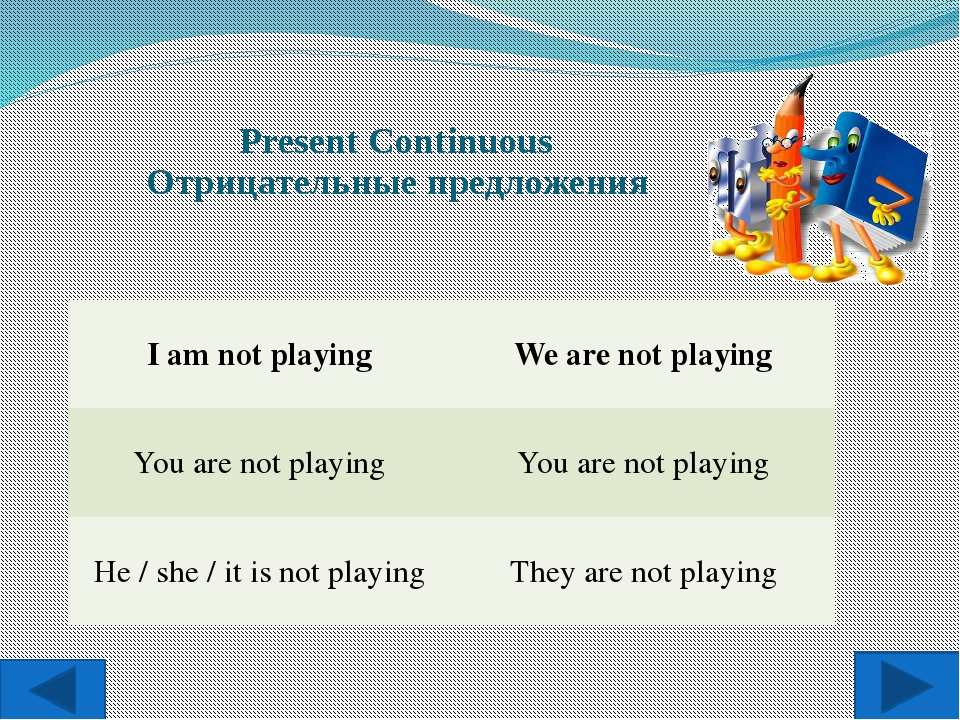 Present Continuous Отрицательные предложения I am not playing We are not pla...