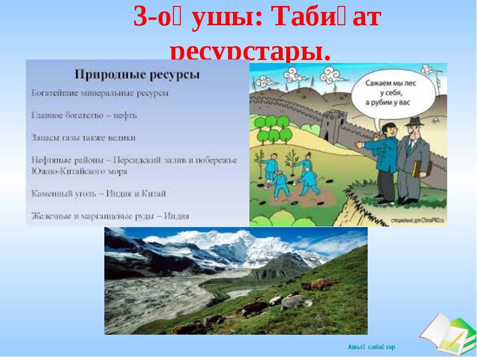 3-оқушы: Табиғат ресурстары. Ашық сабақтар