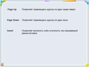 PageUp Позволяет перемещать курсор на один экран вверх PageDown Позволяет