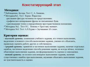 Констатирующий этап Наблюдение, беседа. Тест С. А. Банкова. Методика№1. Тест