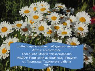 Шаблон презентация «Садовые цветы» Автор: воспитатель Головнева Мария Алекса