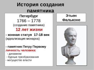 История создания памятника Петербург 1766 – 1778 (создание памятника) 12 лет