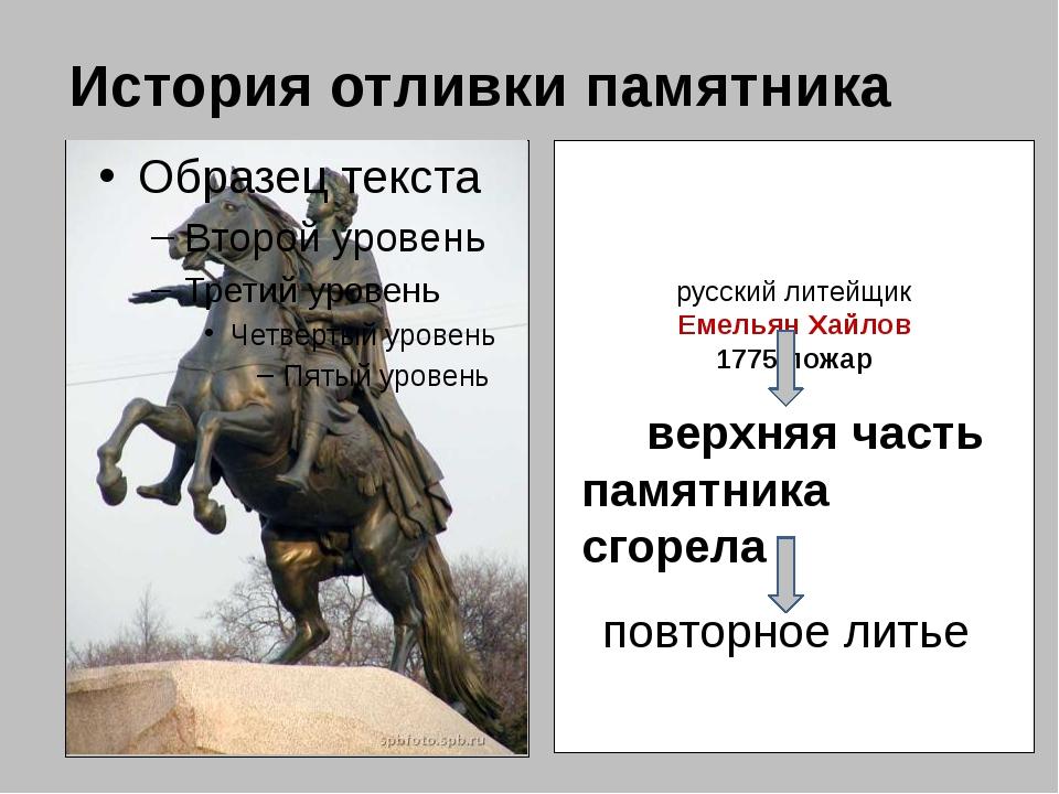 История отливки памятника русский литейщик Емельян Хайлов 1775 пожар верхняя...