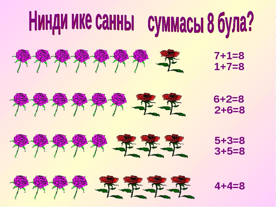 1+7=8 7+1=8 6+2=8 5+3=8 4+4=8 2+6=8 3+5=8