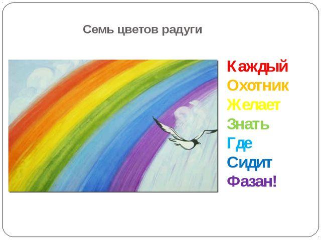 Семь цветов радуги Каждый Охотник Желает Знать Где Сидит Фазан!