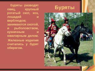 Буряты Буряты разводят овец, крупный рогатый скот, коз, лошадей и верблюдов;