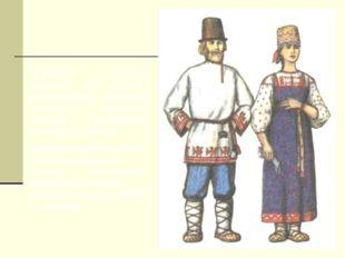 Мужской костюм состоял из рубахи-косоворотки, которую носили навыпуск поверх