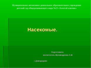 Насекомые. Подготовила воспитатель Мухамадеева А.М. г.Домодедово Муниципальн