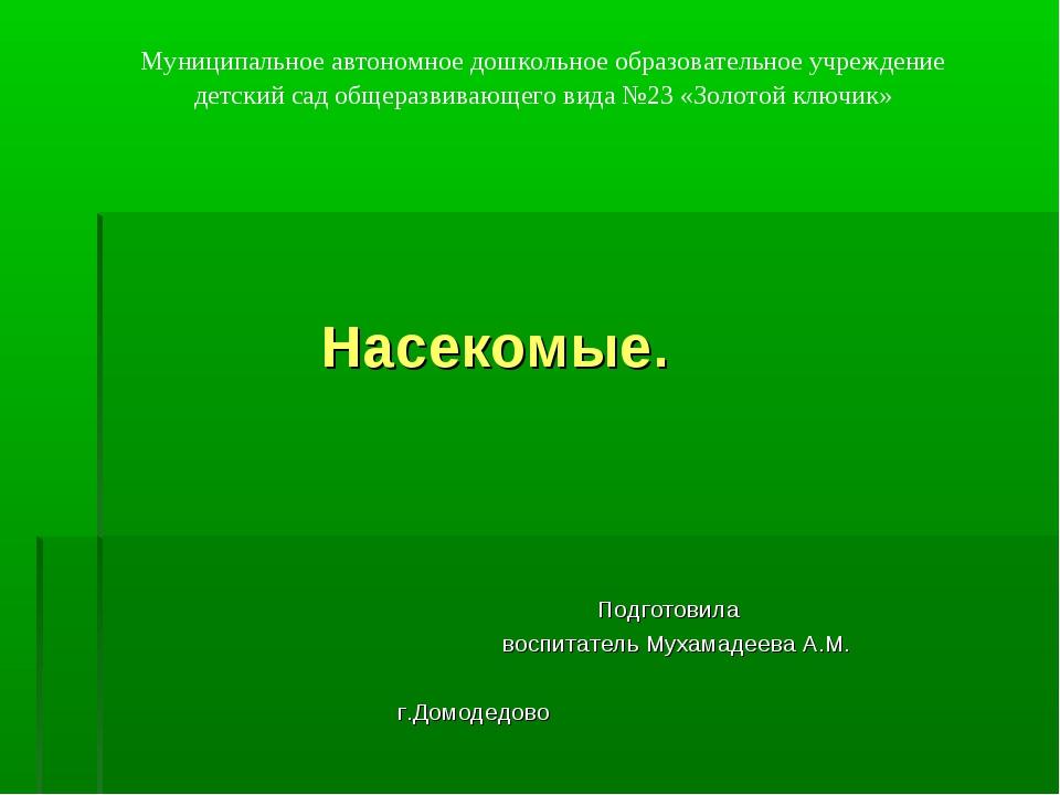 Насекомые. Подготовила воспитатель Мухамадеева А.М. г.Домодедово Муниципальн...