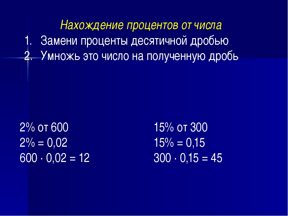 Нахождение процентов от числа Замени проценты десятичной дробью Умножь это чи...