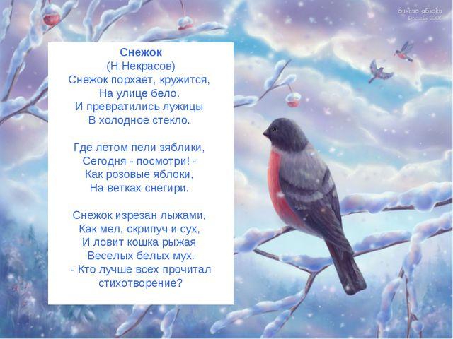 Снежок (Н.Некрасов) Снежок порхает, кружится, На улице бело. И превратились л...