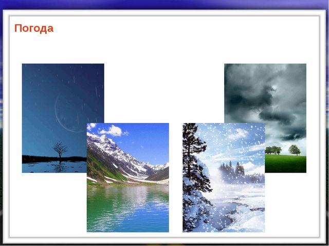Погода –это состояние тропосферы в данном месте, в данное время
