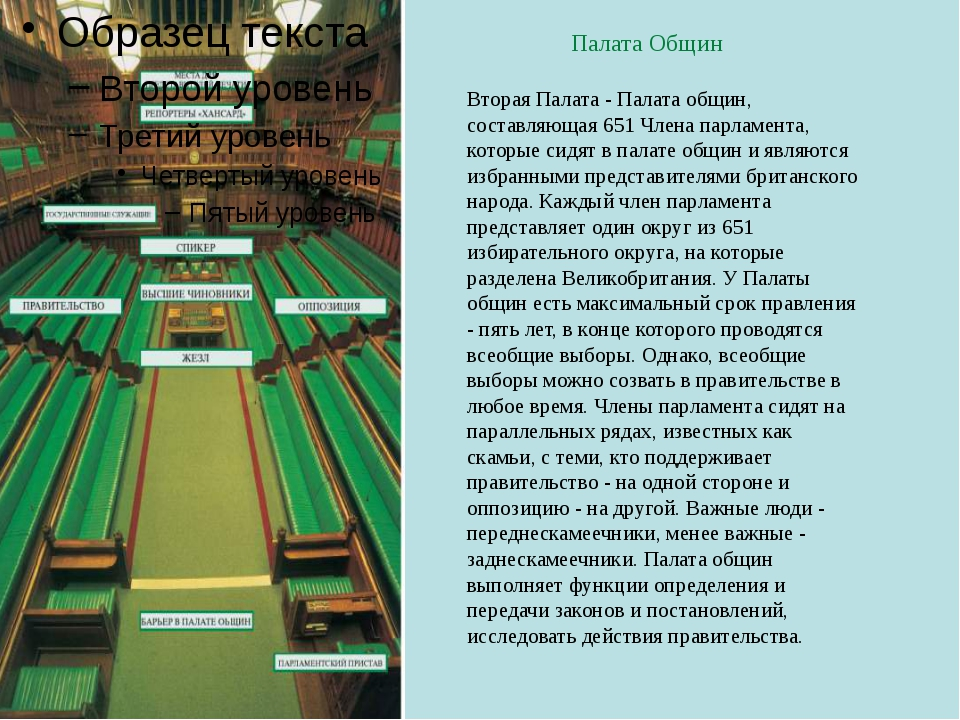 Палата Общин Вторая Палата - Палата общин, составляющая 651 Члена парламента...
