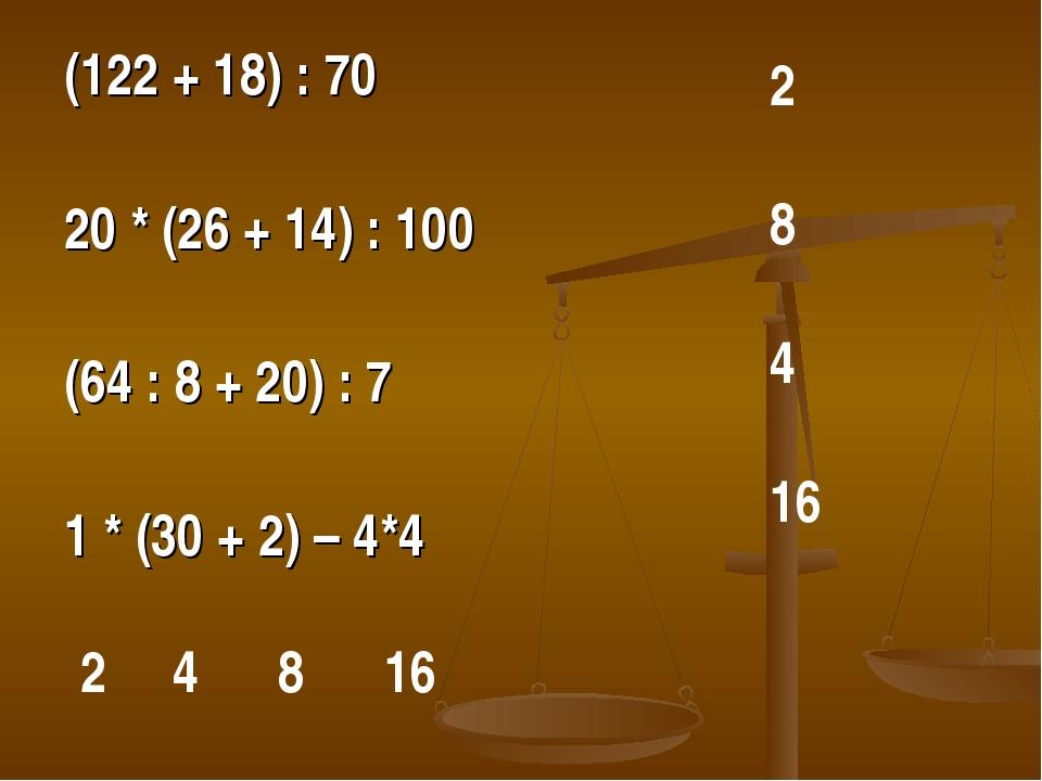(122 + 18) : 70 20 * (26 + 14) : 100 (64 : 8 + 20) : 7 1 * (30 + 2) – 4*4 2...