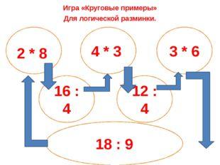 Игра «Круговые примеры» Для логической разминки. 2 * 8 4 * 3 3 * 6 16 : 4 12