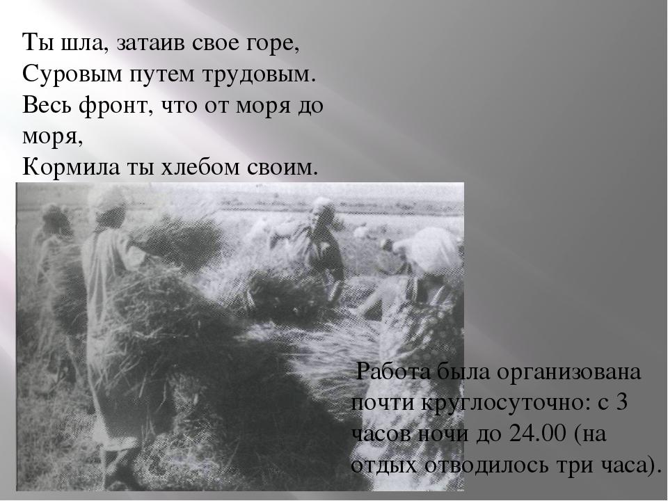 Ты шла, затаив свое горе, Суровым путем трудовым. Весь фронт, что от моря до...