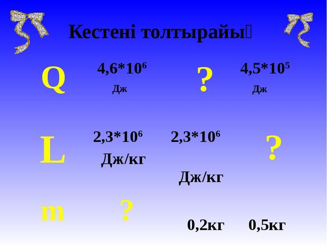 Кестені толтырайық Q 4,6*106 Дж  ?4,5*105 Дж L2,3*106 Дж/кг 2,3*106 Дж/к...