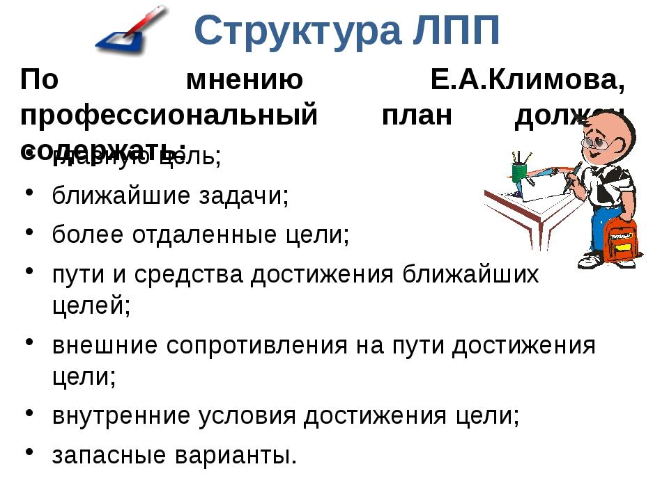 Структура ЛПП По мнению Е.А.Климова, профессиональный план должен содержать:...