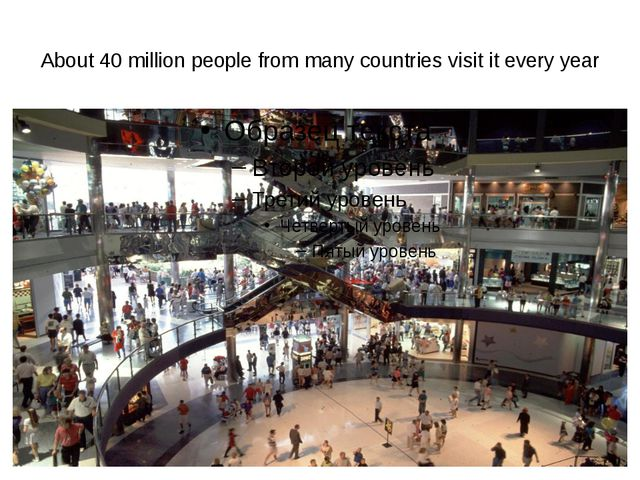 About 40 million people from many countries visit it every year