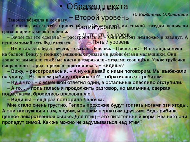 Пожалейте рябину! О. Богданова, О.Калинина Леночка вбежала в комнату. – Смотр...