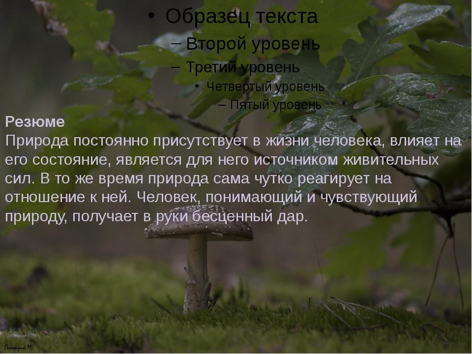 Резюме Природа постоянно присутствует в жизни человека, влияет на его состоян...