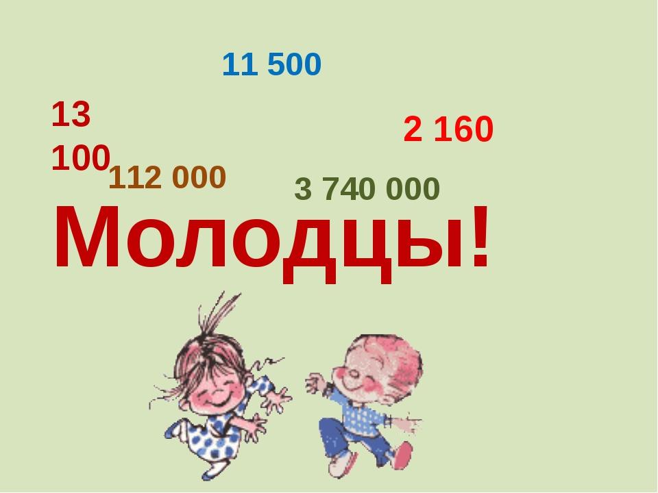 13 100 11 500 2 160 112 000 3 740 000 Молодцы!
