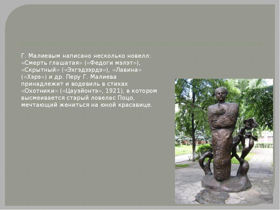 Г. Малиевым написано несколько новелл: «Смерть глашатая» («Федоги мэлэт»), «...