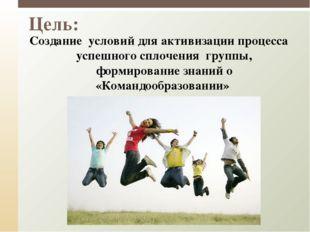 Цель: Создание условий для активизации процесса успешного сплочения группы,